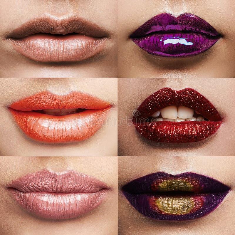 Verschillende lippen en lippenstiftcollage royalty-vrije stock fotografie