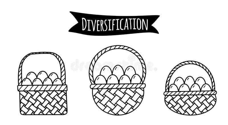 Verschillende manden met eieren als illustratie van idee van financiële risico'sdiversificatie royalty-vrije illustratie