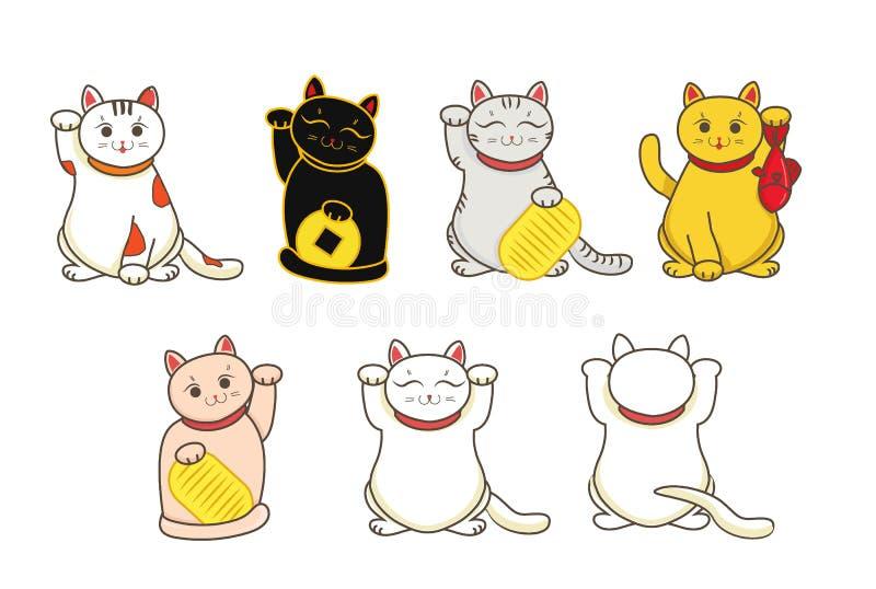 Verschillende Maneki-neko/necoreeks, een kat met een gefokt symbool van het poot Japans geluk, illustratie, met muntstuk, vissen stock illustratie