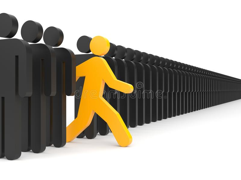 Verschillende mensen Looppas aan nieuwe kansen stock illustratie