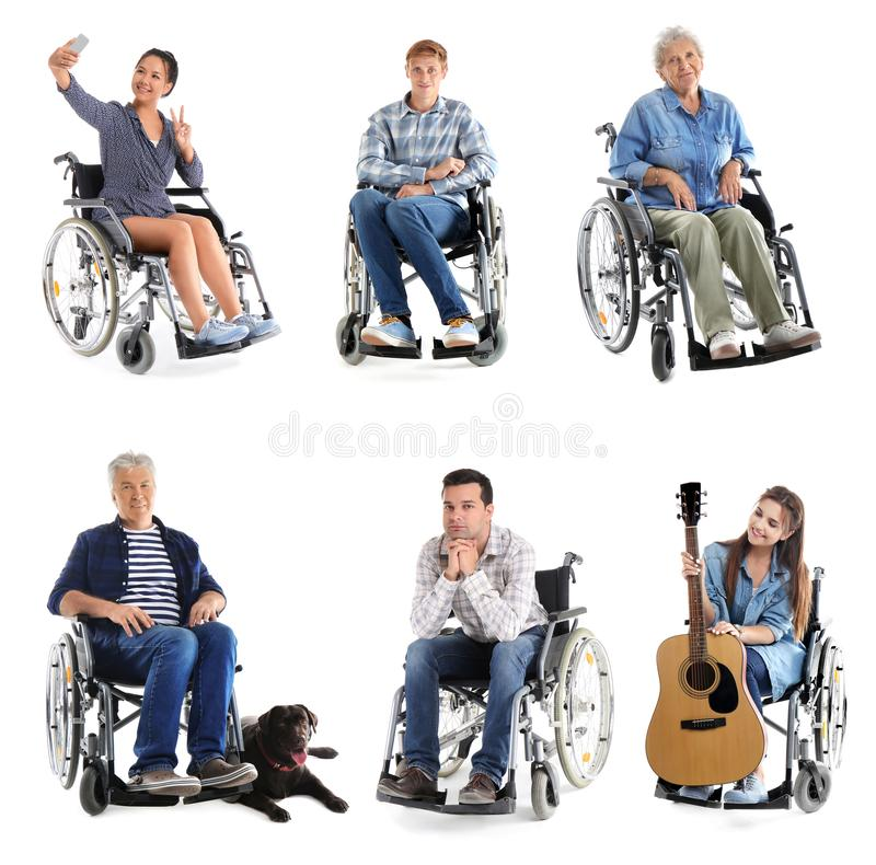 Verschillende mensen in rolstoel op witte achtergrond royalty-vrije stock afbeelding