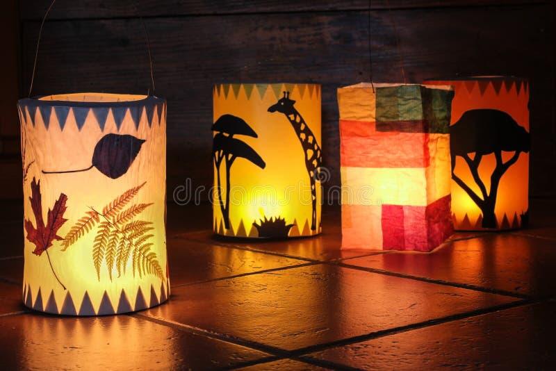 Verschillende met de hand gemaakte lantaarns royalty-vrije stock afbeelding