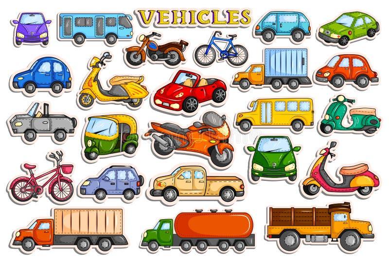 Verschillende middelen van vervoersvoertuig in stickerstijl stock illustratie