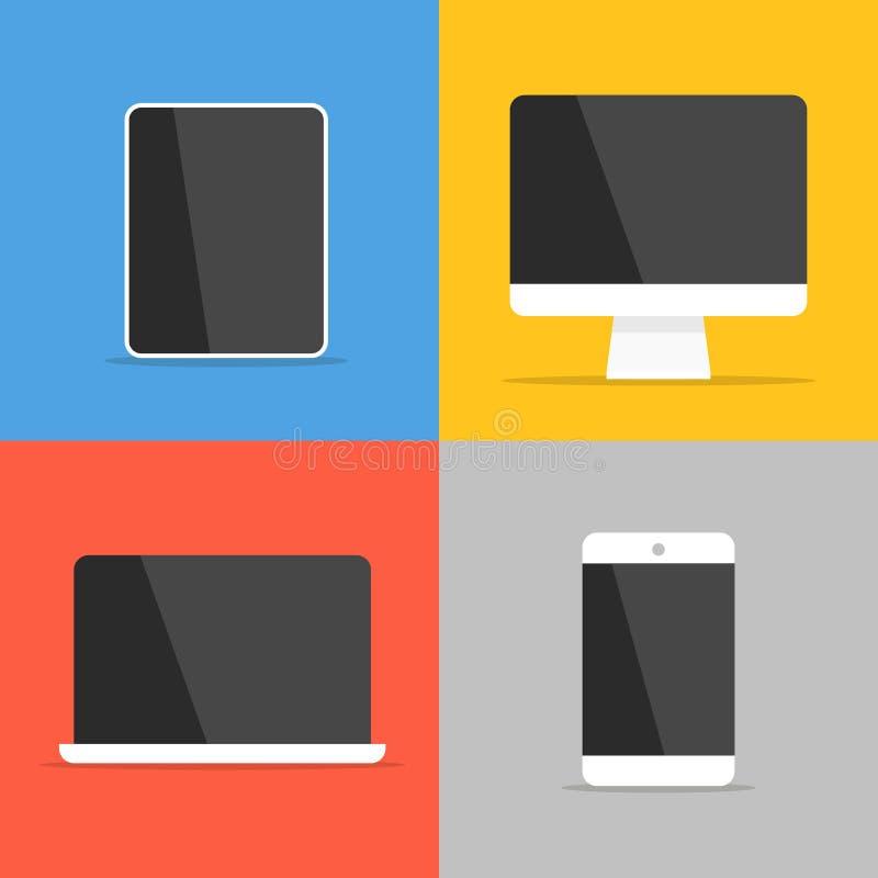 Verschillende moderne persoonlijke gadgets stock illustratie
