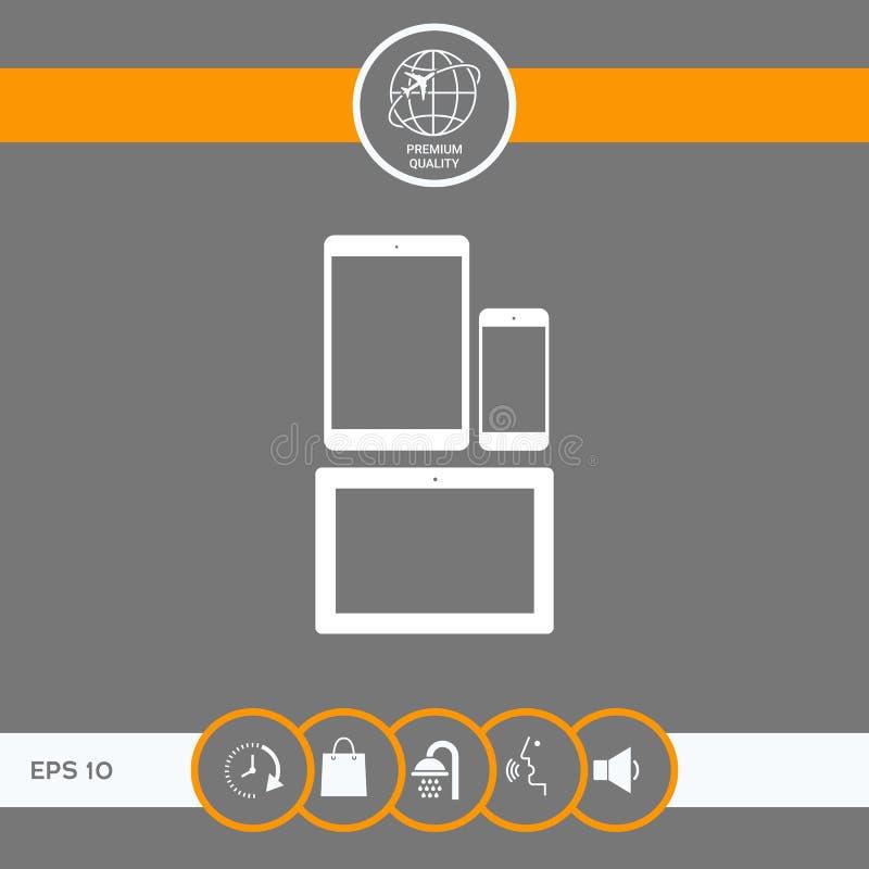 Verschillende moderne persoonlijke gadgets Tablet, telefoonpictogram royalty-vrije illustratie