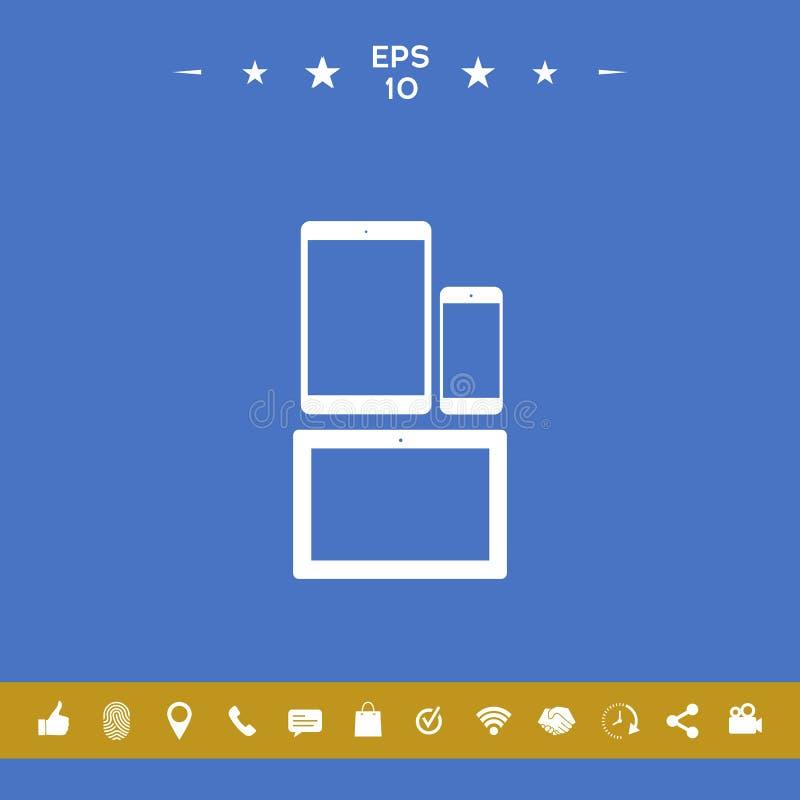 Verschillende moderne persoonlijke gadgets Tablet, telefoonpictogram stock illustratie