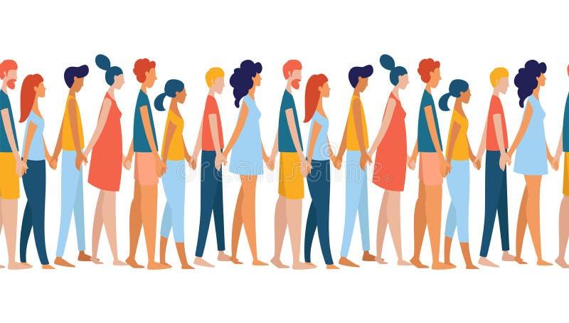 Verschillende multi-etnische vrouwen en mannen de holdingshanden van de groepsmenigte samen royalty-vrije illustratie