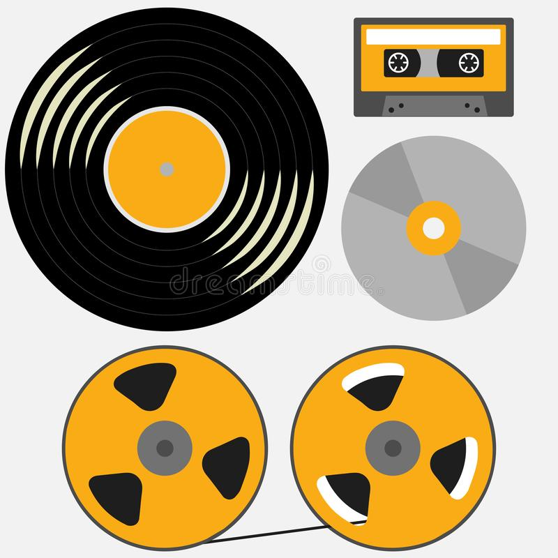 Verschillende muziekverslagen: vinyl, audiocassette, CD, spoel om band te winden vector illustratie