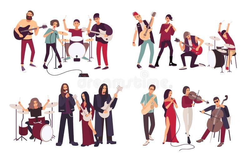 Verschillende muzikale banden Indie, metaal, punk rock, jazz, cabaret Jonge kunstenaars, musici die en muziek zingen spelen stock illustratie