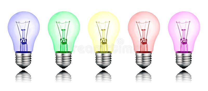Verschillende Nieuwe Ideeën - Rij van Gekleurde Lightbulbs royalty-vrije illustratie