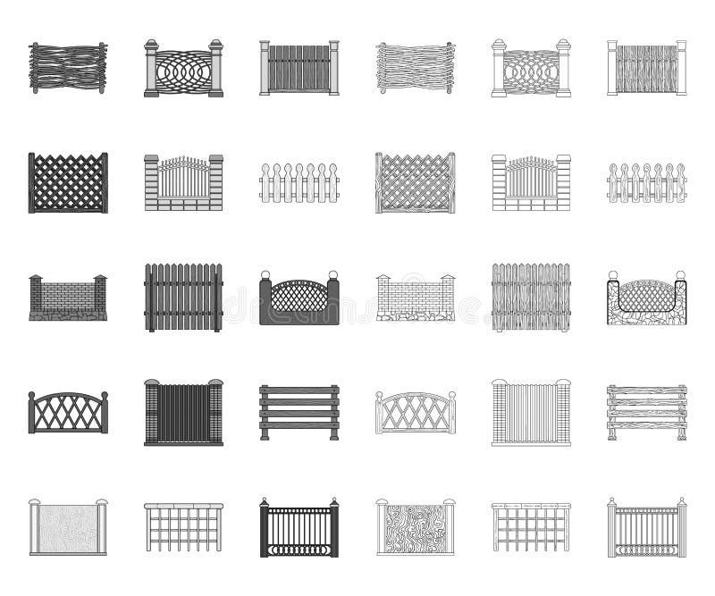 Verschillende omheining mono, overzichtspictogrammen in vastgestelde inzameling voor ontwerp Decoratieve schermende vector het We vector illustratie