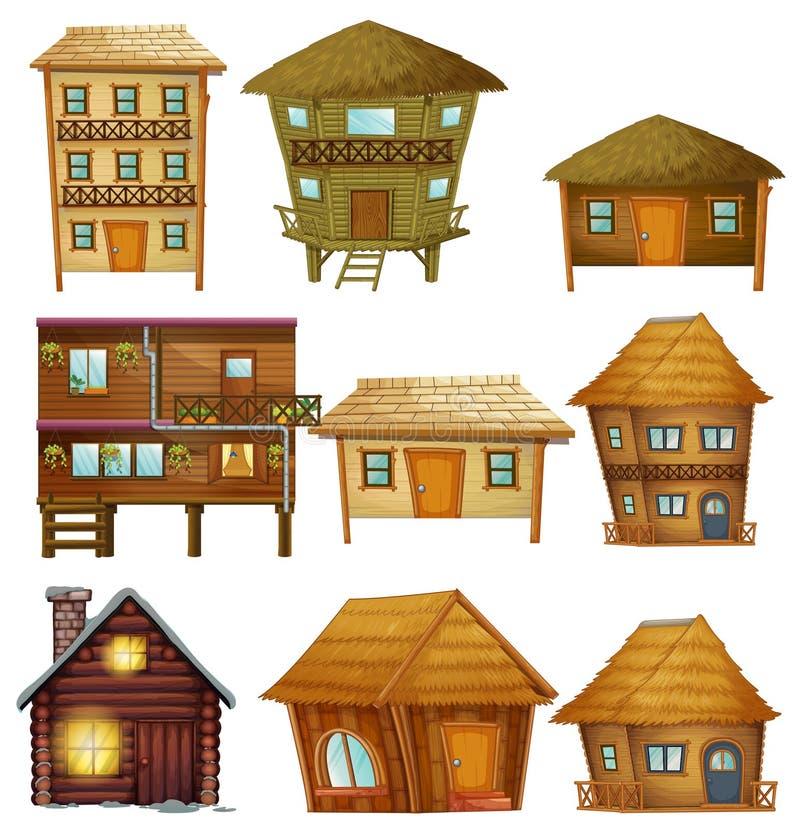 Verschillende ontwerpen van houten cabines royalty-vrije illustratie