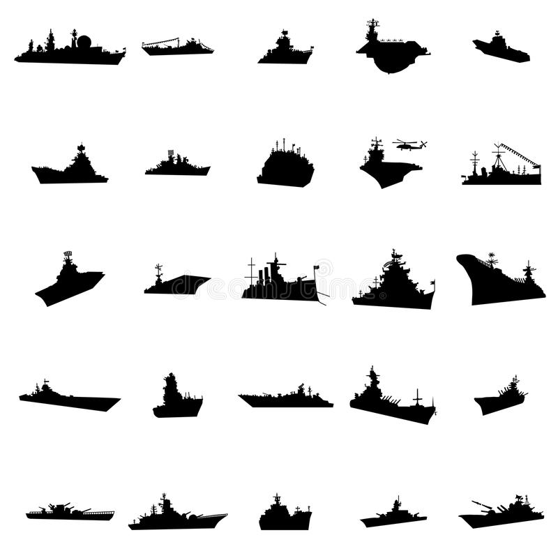25 verschillende oorlogsschepensilhouetten vector illustratie