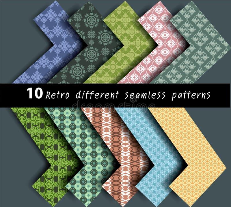 10 verschillende patronen naadloze vector stock illustratie