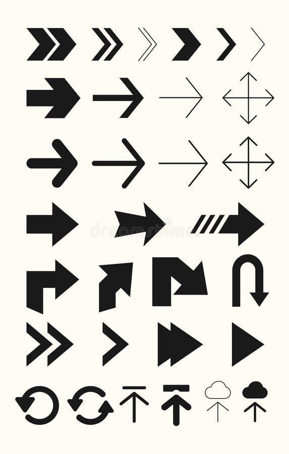 Verschillende pijlen vectorreeks Pijlen voor tekens, websites, gebruiker interfces royalty-vrije illustratie