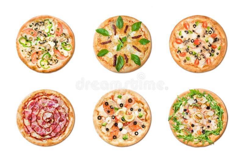 Verschillende pizza zes voor menu Italiaanse voedsel traditionele die keuken op witte achtergrond wordt geïsoleerd stock afbeelding
