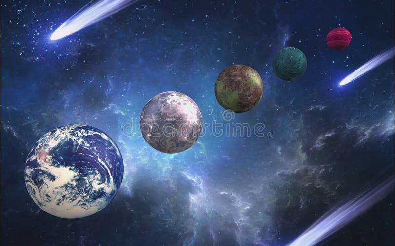 Verschillende planeten in het heelal in 3d formaat stock illustratie