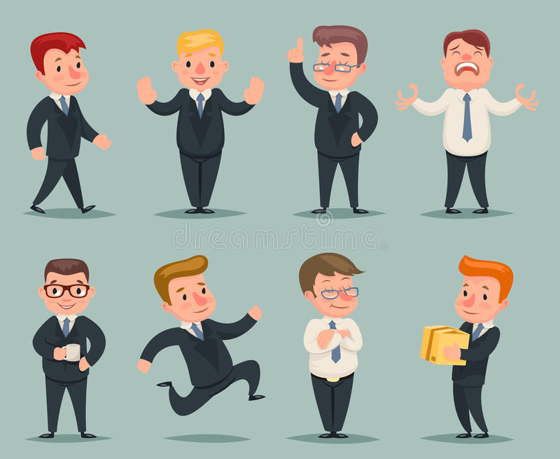 Verschillende Posities en Actieszakenman Character Icons Set stock illustratie