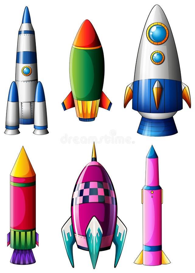 Verschillende raketontwerpen vector illustratie