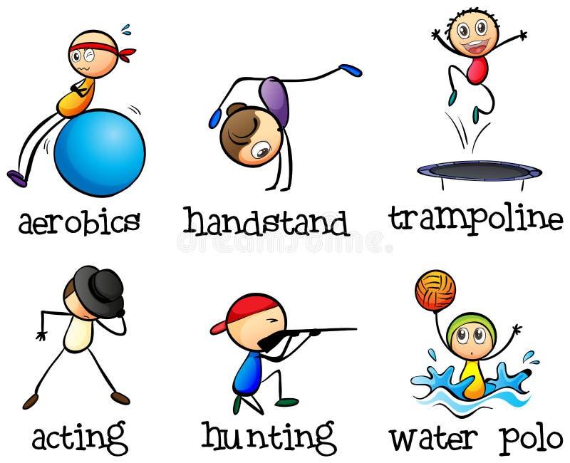 Verschillende recreatieve activiteiten vector illustratie