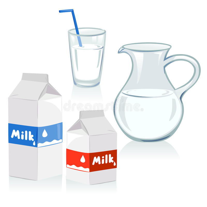 Verschillende reeks containers voor melk royalty-vrije illustratie