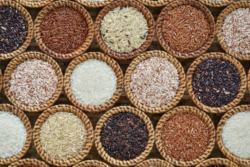 Verschillende rijstinzameling op rijs royalty-vrije stock afbeelding