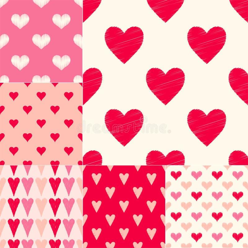 Verschillende rode roze kleurencombinaties van het geweven vectorpatroon van hartsymbolen royalty-vrije illustratie