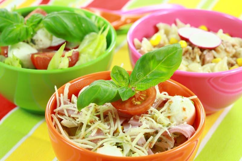 Verschillende salades in buffet royalty-vrije stock foto