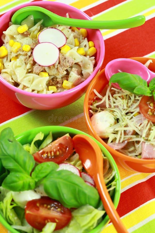 Verschillende salades in buffet royalty-vrije stock foto's