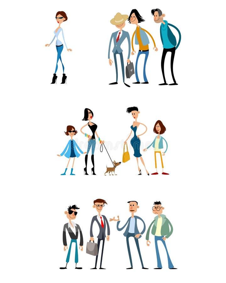 Verschillende scènes met grappige karakters royalty-vrije stock afbeelding