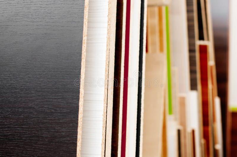 Verschillende soort spaanplaat en triplex stock fotografie