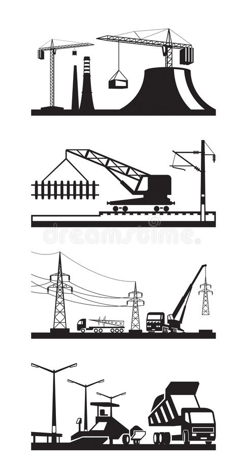 Verschillende soorten bouwscènes vector illustratie