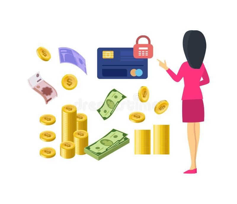 Verschillende soorten geld en betalingen Document muntrekeningen, muntstukken vector illustratie