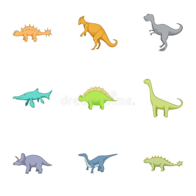 Verschillende soorten geplaatste dinosaurussenpictogrammen vector illustratie