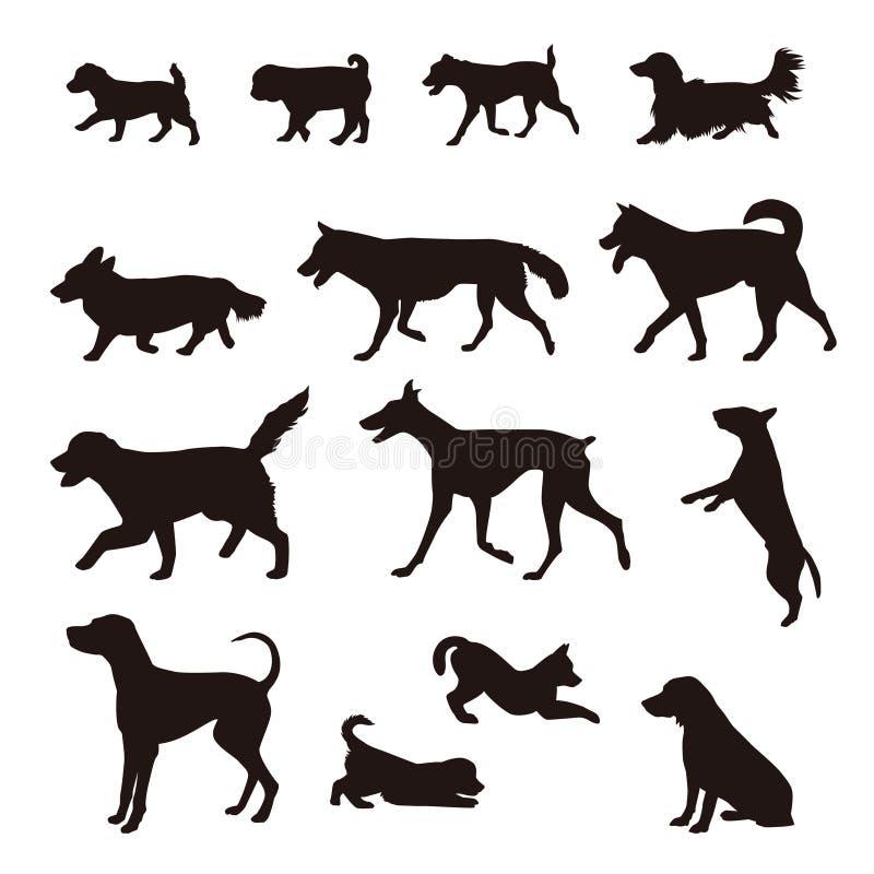 Verschillende soorten hondsilhouet royalty-vrije illustratie