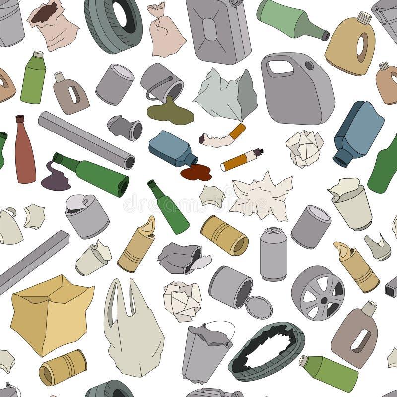 Verschillende soorten huisvuil Naadloos patroon stock illustratie