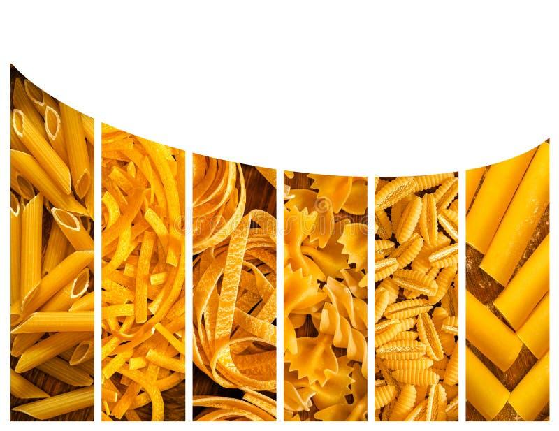 Verschillende soorten Italiaanse deegwaren Voedselcollage royalty-vrije stock afbeeldingen