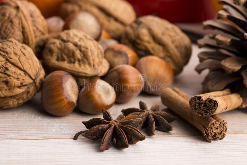 Verschillende soorten kruiden, noten en droge sinaasappelen stock foto