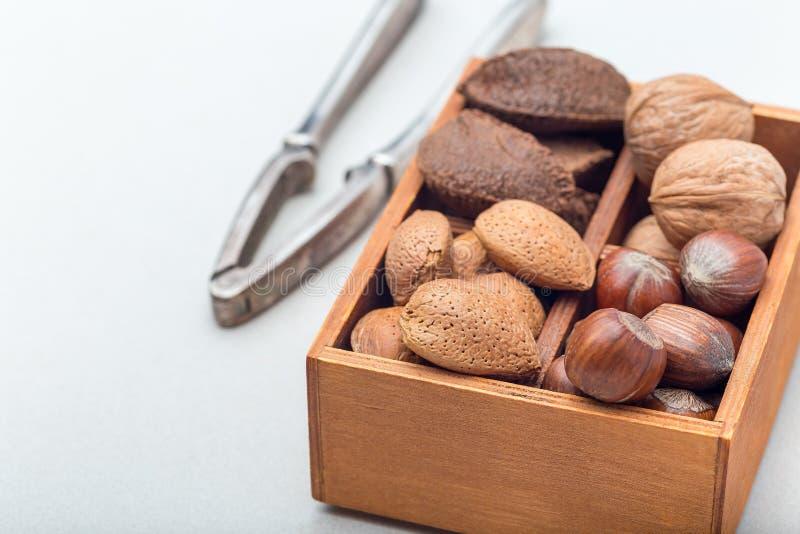Verschillende soorten noten in shell: hazelnoot, okkernoot, amandel en paranoten in houten doos met nootcracker op achtergrond, stock foto