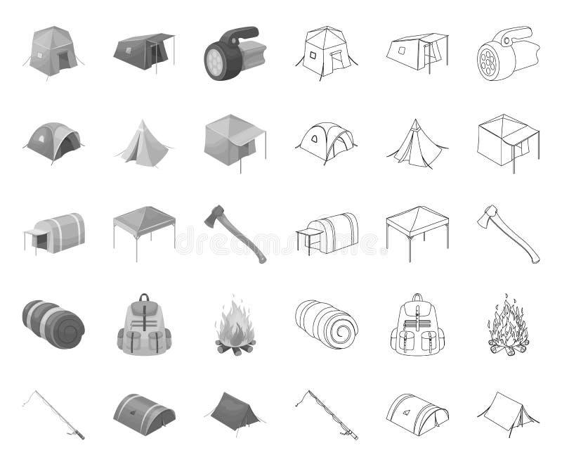 Verschillende soorten tenten mono, overzichtspictogrammen in vastgestelde inzameling voor ontwerp Tijdelijk schuilplaats en huisv royalty-vrije illustratie
