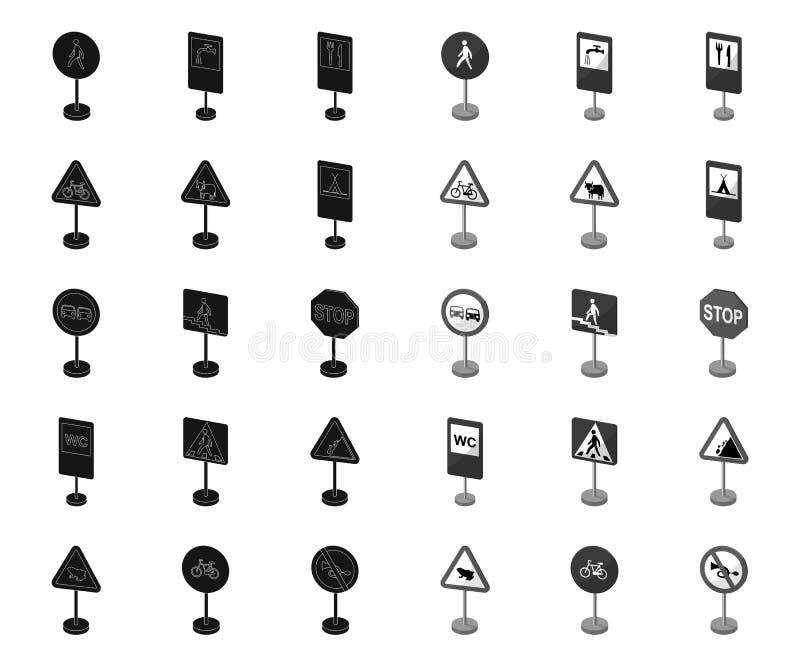 Verschillende soorten verkeerstekenzwarte monopictogrammen in vastgestelde inzameling voor ontwerp Waarschuwing en verbodstekens  stock illustratie
