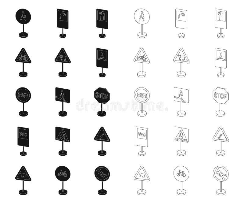 Verschillende soorten verkeerstekenzwarte, overzichtspictogrammen in vastgestelde inzameling voor ontwerp Waarschuwing en verbods stock illustratie