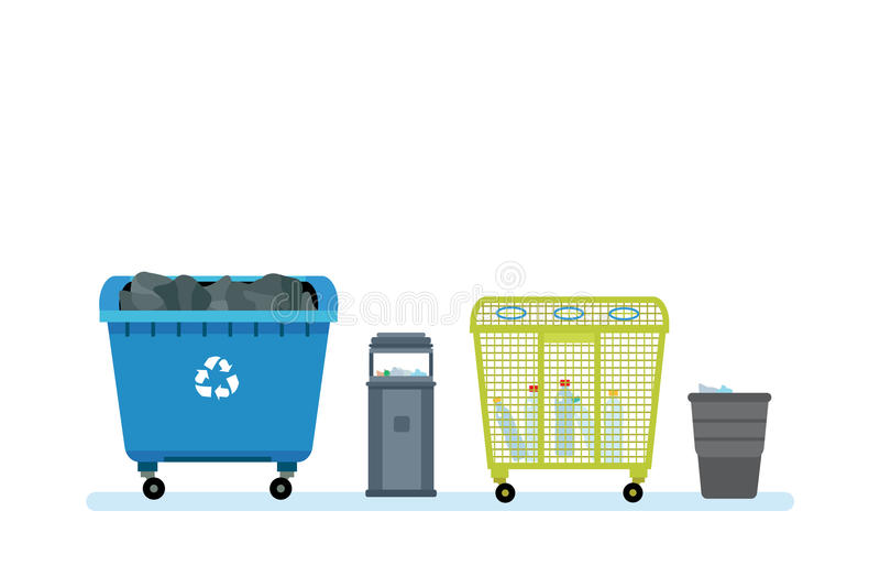 Verschillende soorten vuilnisbakken, containers, voor types van huisvuil vector illustratie