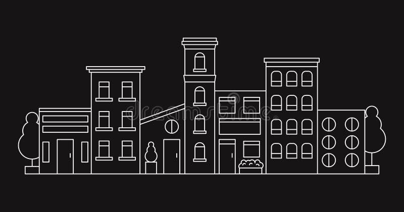 Verschillende stads de straat huisvest lijn vectorillustratie royalty-vrije illustratie