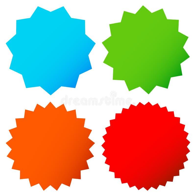 Verschillende starburst/zonnestraalkentekens, vormen in kleur 4 stock illustratie