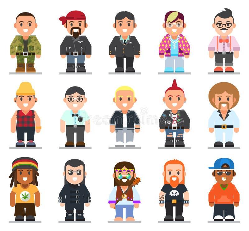 Verschillende subculturenmens in in vlakke stijl vector illustratie