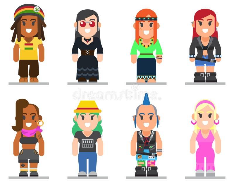 Verschillende subculturenvrouw in in vlakke stijl stock illustratie