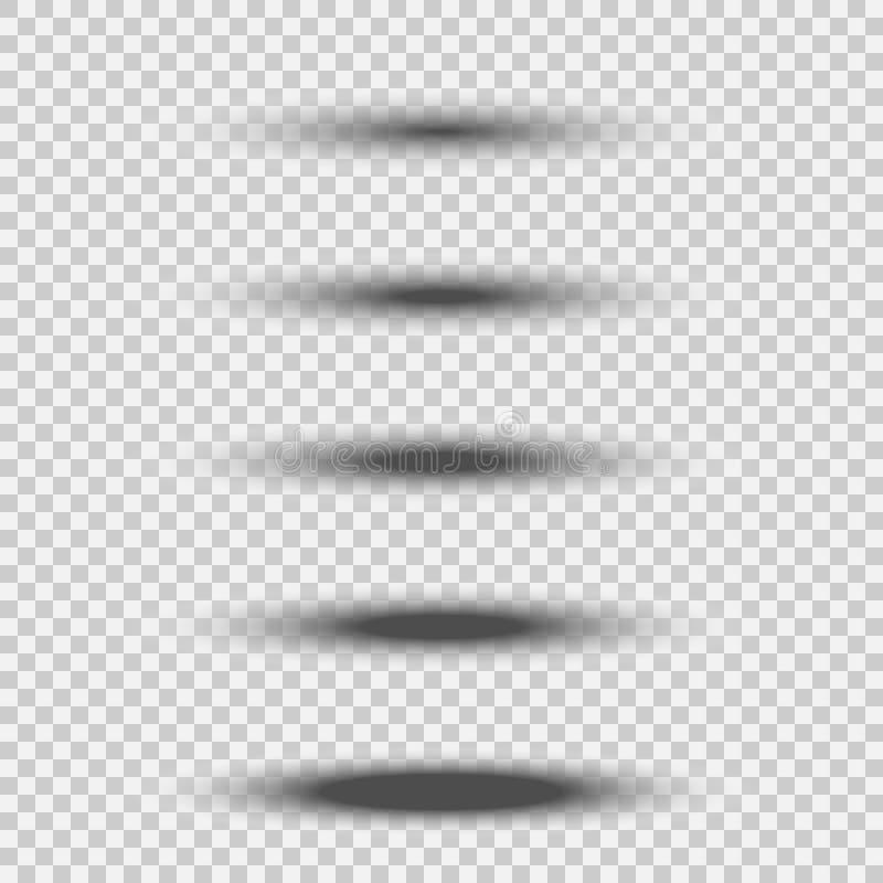 Verschillende transparante zwarte ovale schaduw die met zachte rand wordt geplaatst die op witte achtergrond wordt geïsoleerd Vec vector illustratie