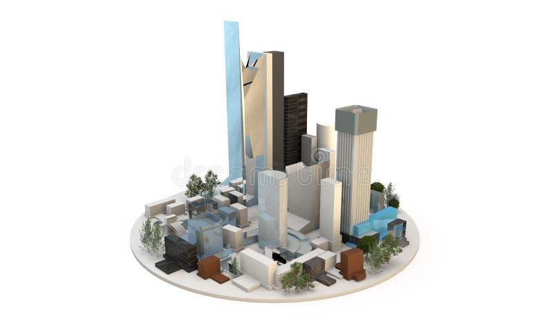 Verschillende types van architectuur includng wolkenkrabbers om a.c. te tonen royalty-vrije illustratie