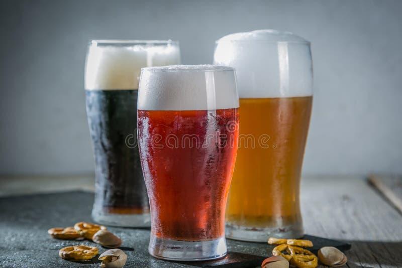 Verschillende types van bier stock fotografie